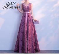 Xnxee Dress female 2019 new noble elegant ladies dignified atmosphere purple long dress summer