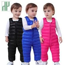 Crianças calças para baixo algodão engrossar quente calças finas para meninas calças confortáveis do bebê meninos calças de inverno à prova dwaterproof água crianças outwear