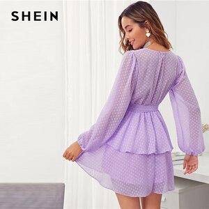 Image 2 - SHEIN vestido de punto suizo para mujer, Vestido corto morado con dobladillo de doble capa y escote en V profundo, vestido Sexy con manga de obispo para otoño 2019