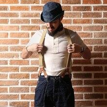 BRONSON Henley เสื้อยืดเก่า Mens Cotton เสื้อผู้ชายแขนสั้นด้าย TEE SLIM FIT Tops Casual VINTAGE SOLID สี
