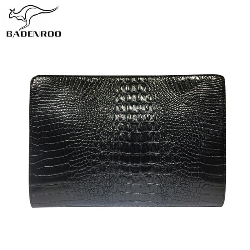 Badenroo Men Bag Alligator Crocodile Leather Clutch Bag Large Capacity Embossing Business Brand Envelope Clutch Men Ipad Clutch
