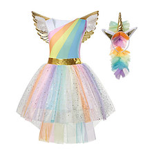 MUABABY Girl Unicorn Dress Up Kids Summer Rainbow Sequin Party Tutu Dress Girls Pageant Tulle Costume with Wing Headband
