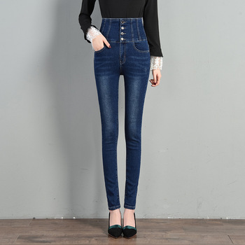 High Waist Hips Tight Jeans Women Slim Stretch Denim Jean Bodycon Button Skinny Push Up Jeans Woman Plus Size S-6XL Trousers slim pencil jeans for women skinny high waist jean trousers woman stretch push up denim jeans pants plus size femme taille haute