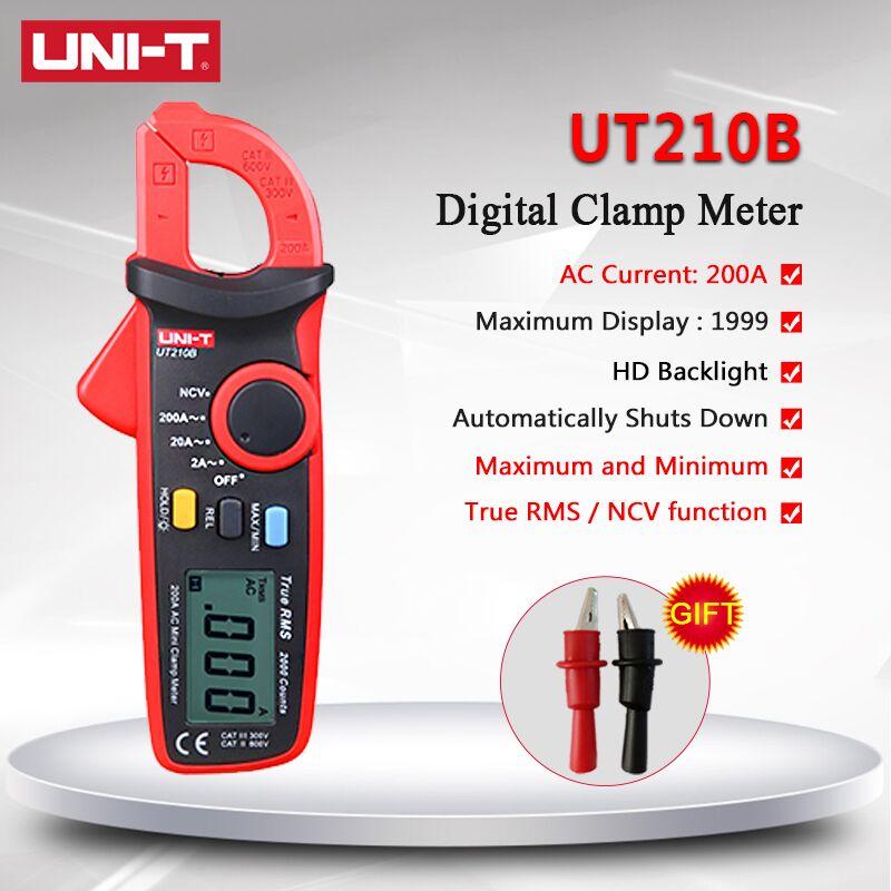 UNI-T UT210B Handheld Mini Digital Clamp Meter True RMS Auto Range AC DC Volt 100A Ohm Capacitance Multimeter