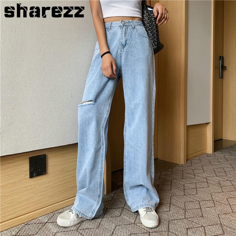 sharezz 2020 Women Denim High Waist big size Jeans Wide Leg Pants Vintage Baggy Casual Loose Full Length Pants Retro Trousers|Jeans| - AliExpress