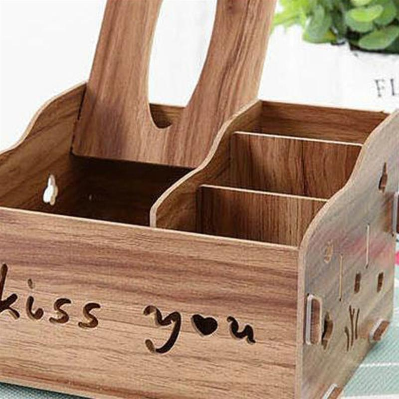 1 PC Tissue Box Wooden Sundries Remote Control Organizer for Living Room Bedroom