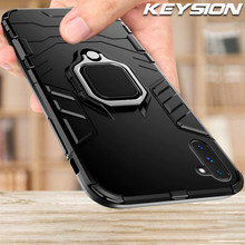 KEYSION Armor Shockproof Case For Samsung Galaxy Note 10 10 Plus 9 Ring Holder Finger Ring Fundas Back Cover for S10 S10+ S9 S8(China)