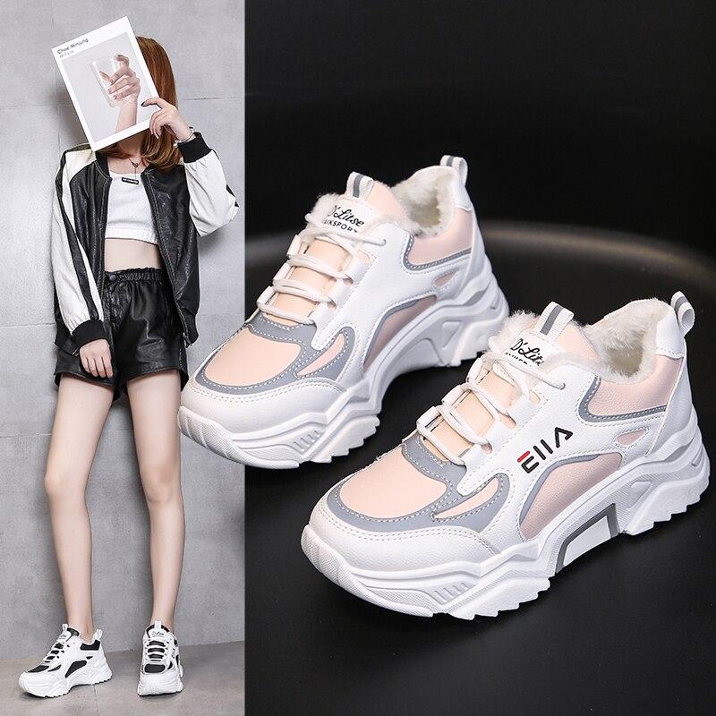 Women Women Casual Sneakers Winter Sneakers Plush Fur Keep Warm Women Shoes Lace Up Female Shoes Comrfortable Shoes Women