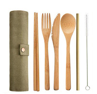 Деревянный набор столовых приборов многоразовый бамбуковый набор соломинок с тканевой сумкой ножи вилка ложка палочки для еды щетка для пу...