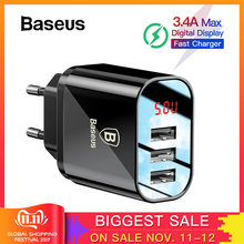 Baseus Digital Display Charging USB Charger for Samsung Xiaomi Phone Charger 3.4A Max Fast Charger for iPhone Charger Adapter(China)