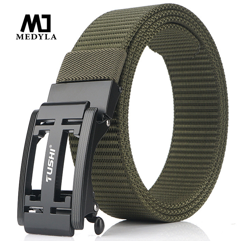 MEDYLA 2020 Mens Military Nylon Belt New Technology Automatic Buckle Hard Metal Tactical Belt For Men 3mm Soft Real Sports Belt