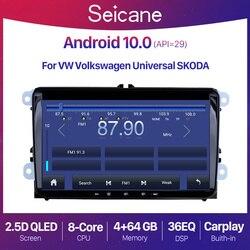 Автомагнитола Seicane QLED 2 + 32 ГБ, 9 дюймов, Android 10,0, GPS, аудио, мультимедийный плеер для VW/Volkswagen/Golf/Tiguan/Passat/b6 b5, 2 din