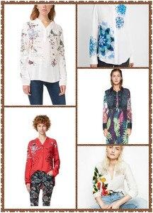 Женская блузка DESIGUAL, с открытым вырезом и принтом, лето 2020