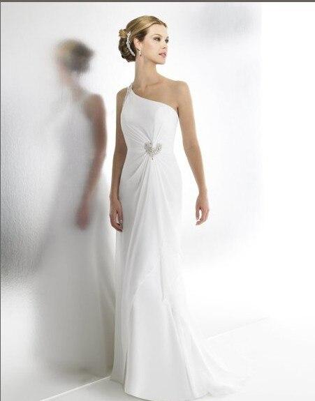 Free Shipping 2017 Chiffon Mermaid One Shoulder Train Crystals Bugle Bead Low Back Bridal Gown Wedding Party Dress
