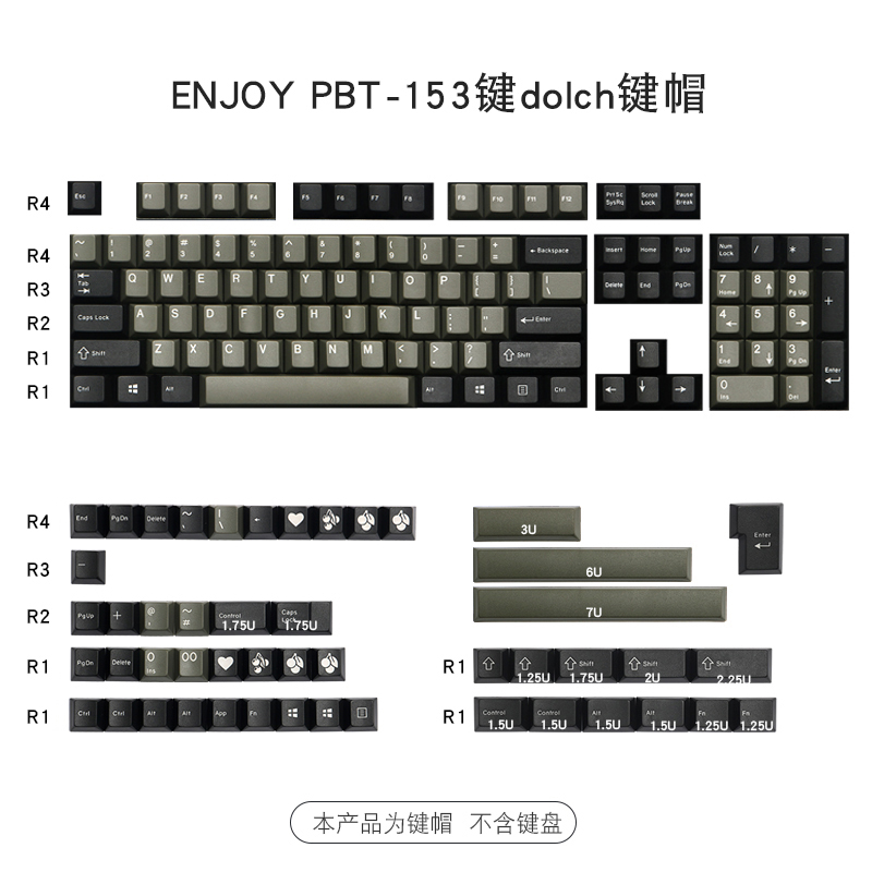 153 Keys/set Enjoypbt Dolch Color Keycap ABS Double Shot Mechanical Keyboard Key Caps For MX Switch Cherry Profile