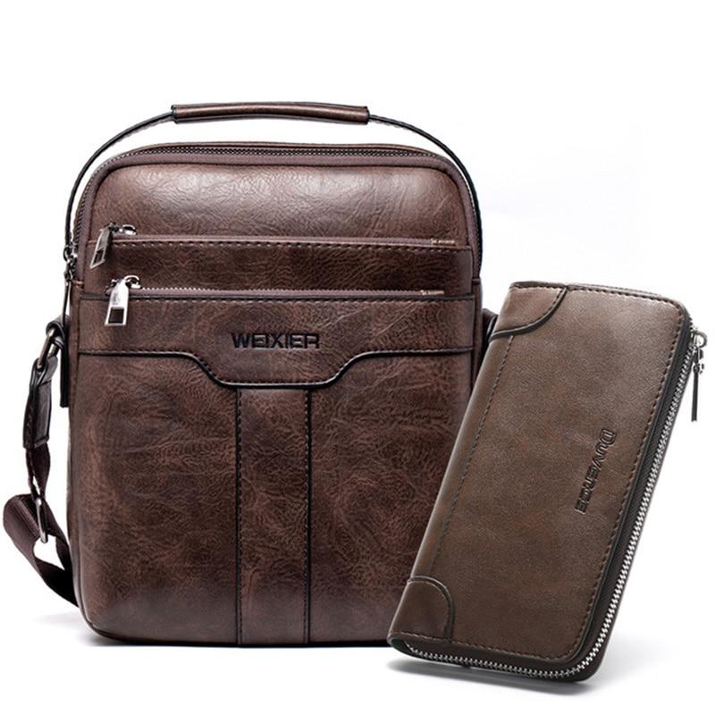 PU Leather Male Messenger Bag Fashion Brown Crossbody Bag For Men Large Fashion Men Shoulder Bag Handbag Zipper Flap For Male
