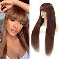 Бразильские прямые парики из человеческих волос с эффектом омбре для женщин, полноценный парик с челкой, шелк, коричневый, фиолетовый, хайла...