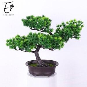 Erxiaobao искусственная сосна PP искусственное дерево растения с пластиковым горшком Моделирование Зеленый лист в горшках бонсай помещается ук...