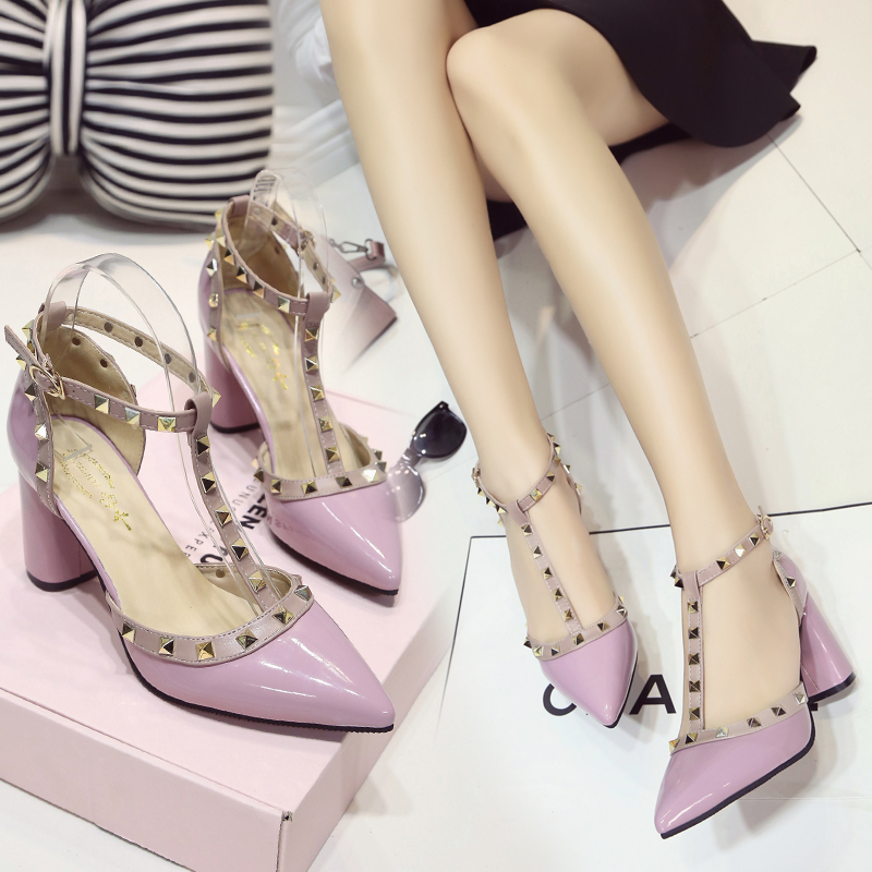 Summer New Pointed High Heels Fashion Rivets Hollow Women's Single Shoes Europe And America Sexy Work Shoes