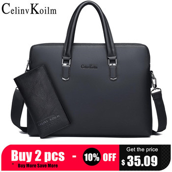 Celinv Koilm Men Leather Briefcase Bag Business Famous Brand Shoulder Messenger Bags Office Handbag 14 inch Laptop High Quality laptop bag 14 inch laptop shoulder bag fashion brand laptop messenger bag leather bag for laptop luxury men briefcase handbag