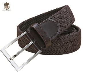 Image 3 - Cinturones elásticos trenzados de alta calidad para hombre, de metal cepillado Hebilla, marrón, Beige, azul y negro