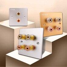 لوحة طرفية للصوت 5.1 نظام 86 نوع قابس حائطي حريمي من الموز مقبس Hifi Y محطات صوتية سماعات ملزمة للواجهة