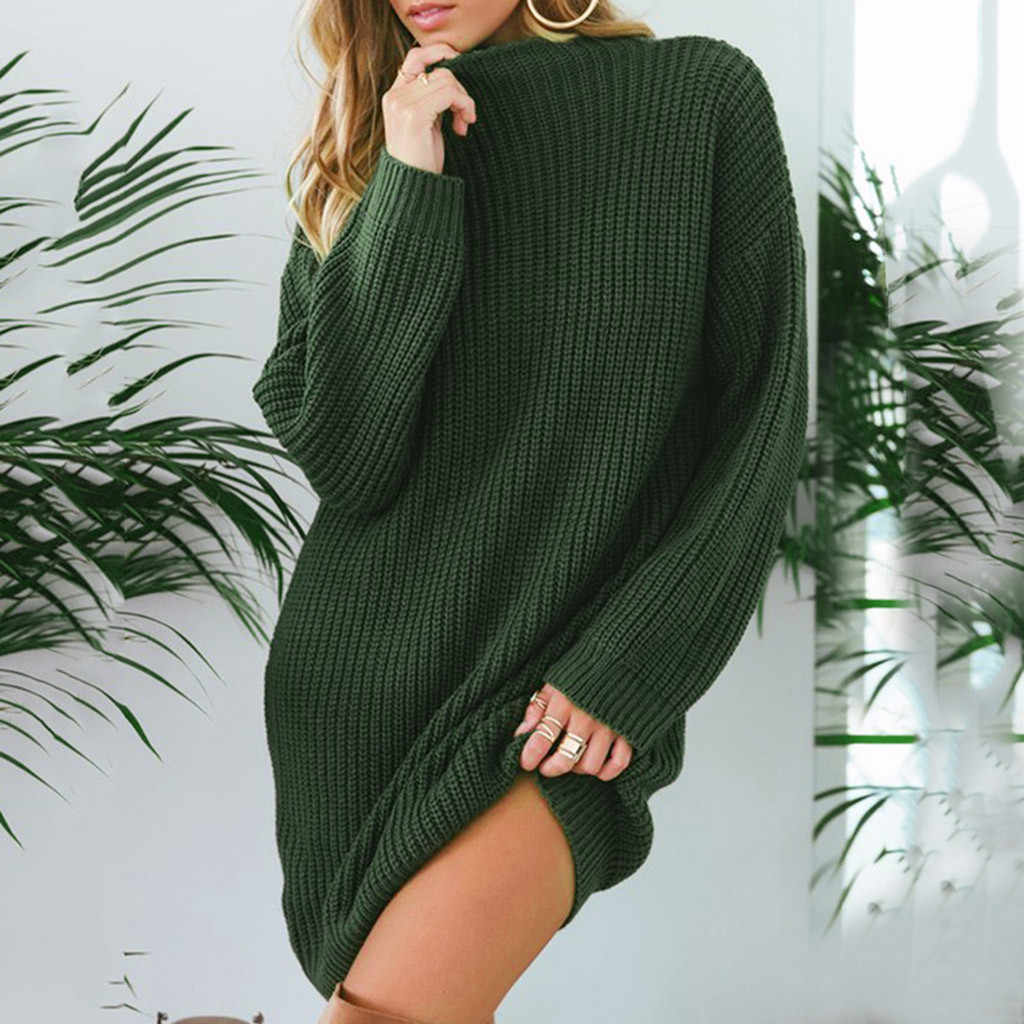 Hijau Padat Bohemian Beach Gaun Fashion Wanita Musim Dingin Kasual Lengan Panjang Solid Leher O Rajutan Sweter Gaun Vestidos 50