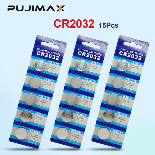 PUJIMAX 15 قطعة العلامة التجارية الجديدة الأصلي بطارية CR2032 3 فولت زر خلية عملة بطاريات للألعاب ساعة الكمبيوتر لعبة التحكم عن بعد cr2032