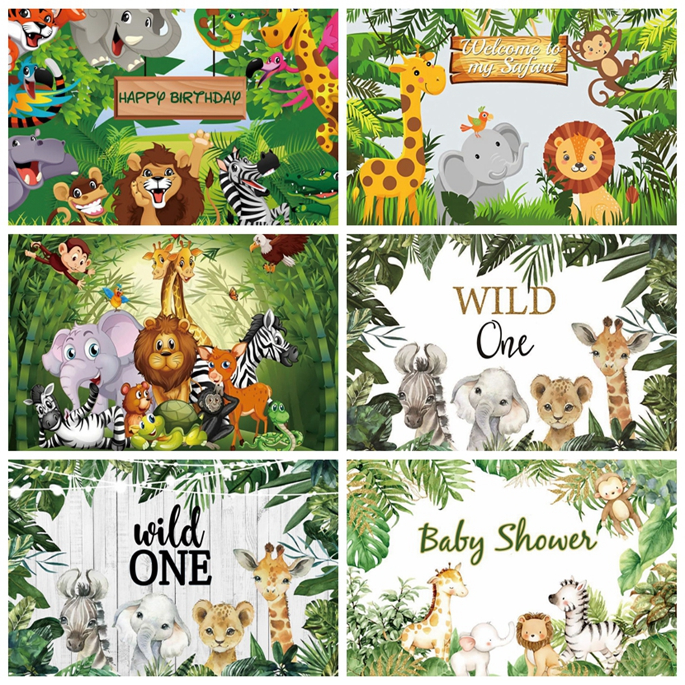 Yeele Wild Animal Tropical Forest Jungle Newborn Baby Shower Birthday Backdrop Custom Vinyl Photography Background Photo Studio