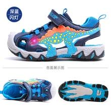 Dinoskulls Children Sandals 2021 Summer Boy LED Dinosaur Flashing With Light Kids Beach Shoes Breathable Fashion Leather Sandals