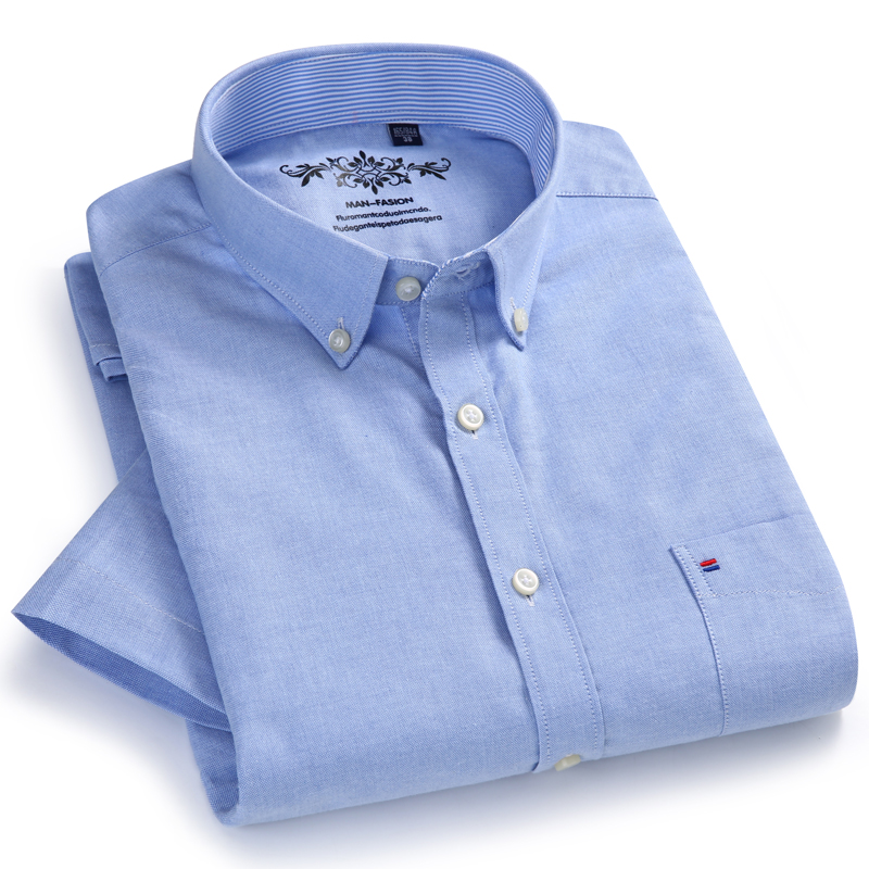 Casual Shirts Short-Sleeve Pocket Oxford Standard-Fit Button-Down Summer Comfortable