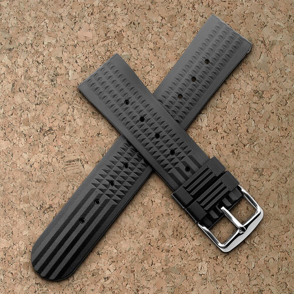 Black Blue For Sharkey MM300 SBDX001/012/01 6105 SOFT Rubber Waffle Watch Band 20MM 22MM DIY Replace