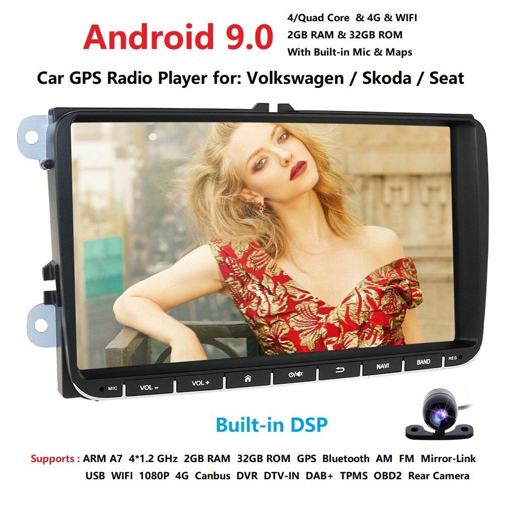 Android 9.0 2din Auto Auto Audio für VW POLO GOLF 5 6 POLO PASSAT B6 CC JETTA TIGUAN TOURAN EOS SHARAN SCIROCCO CADDY GPS Navi fm