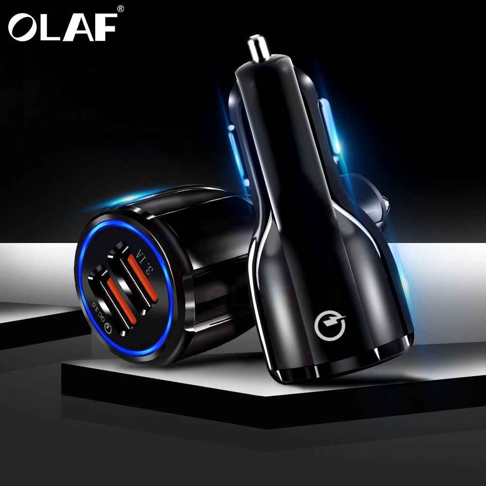 Olaf Car USB Charger Quick Charge 3.0 2.0 Mobile Phone Charger 2 Port USB Fast Car Charger for iPhone Samsung Tablet Car-Charger