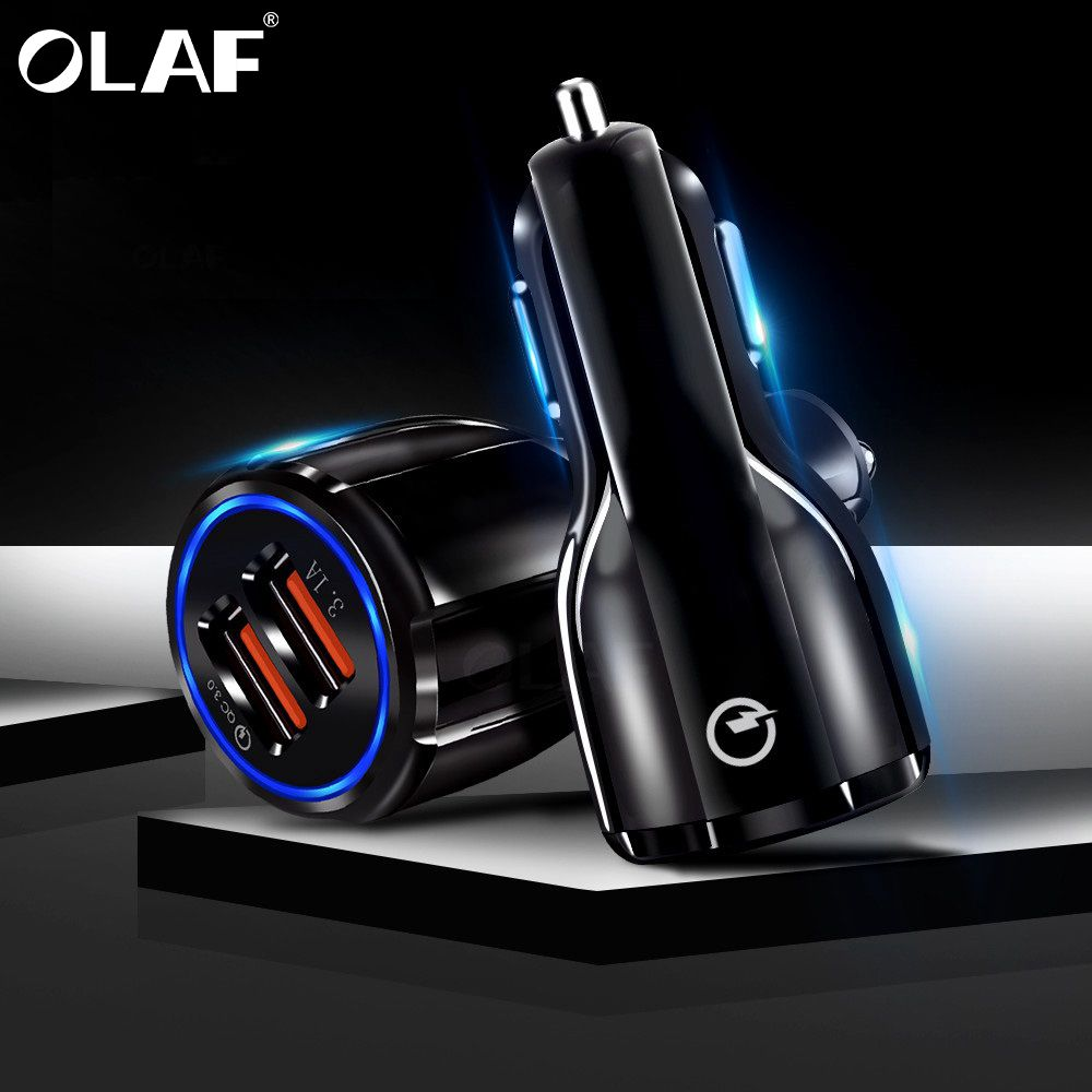 Olaf Car USB Charger Quick Charge 3.0 2.0 Mobile Phone Charger 2 Port USB Fast Car Charger for iPhone Samsung Tablet Car-Charger xanes a6s