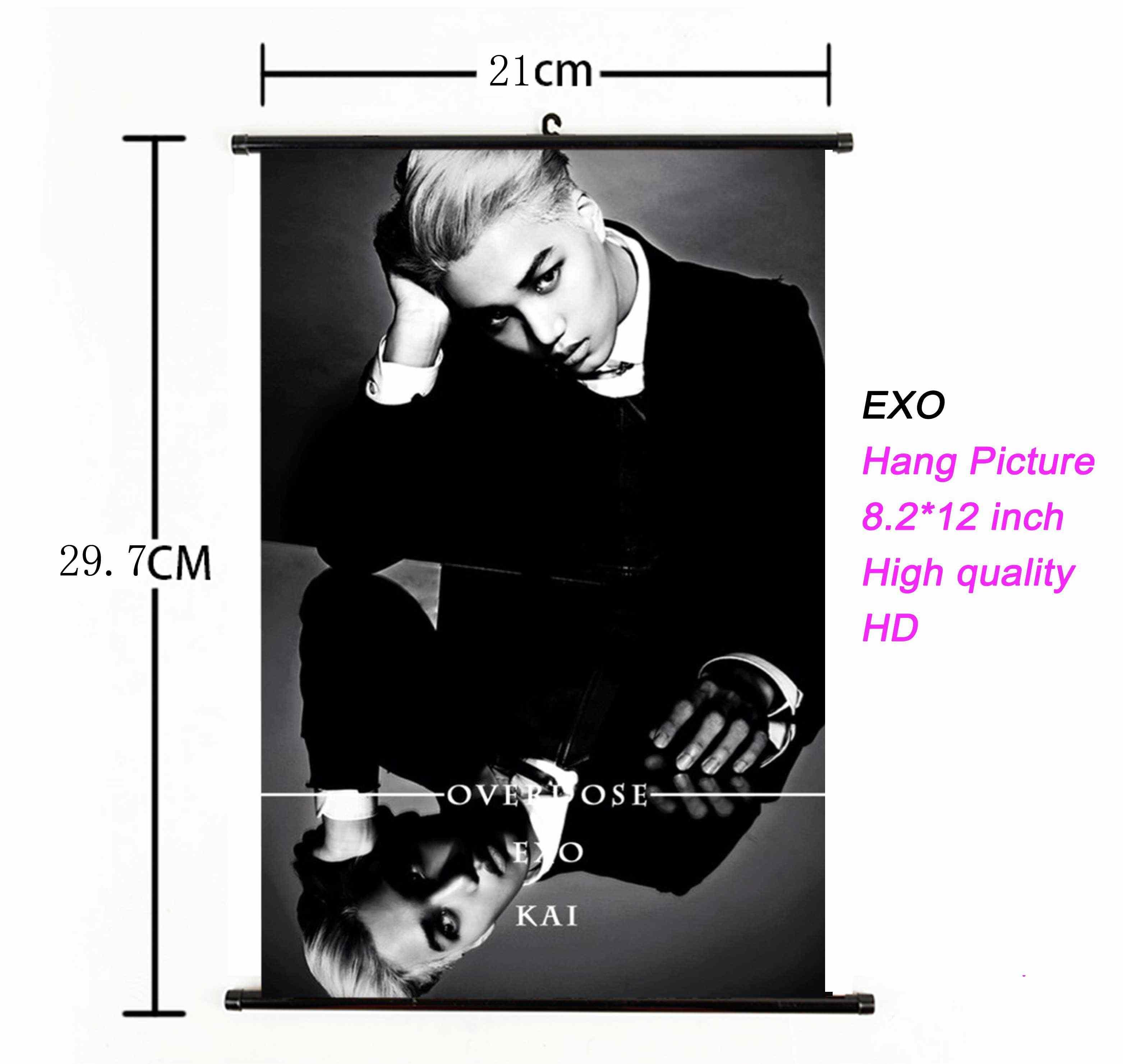K EXO אלבום לתלות תמונה תמונה פוסטר Kpop EXO לתלות פוסטר בד 21*30cm באיכות גבוהה עבור אוהדי מתנת אוסף