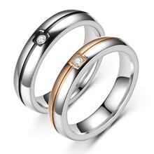 Anillo de acero inoxidable con circón para hombre y mujer, sortija de boda, color negro, oro rosa, Circonia cúbica, zirconia, circonita, zirconita, circón, compromiso