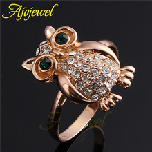 Size 7-9 Fashion Jewelry Small 18K Rose Gold Plated Vintage Animal Owl Ring