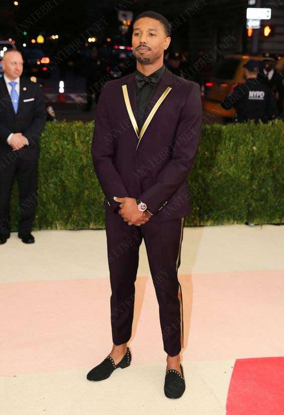 ANNIEBRITNEY New Designs Gold Lapel Men Suit Set Casual Dark Burgundy Tuxedo Slim Fit 2Pcs Men Suits Groom Wedding Prom Blazer