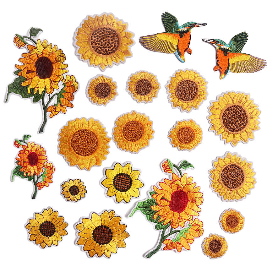2pcs// Painting Sunflower Embroidery Iron On Patches For Clothes DIY Applique