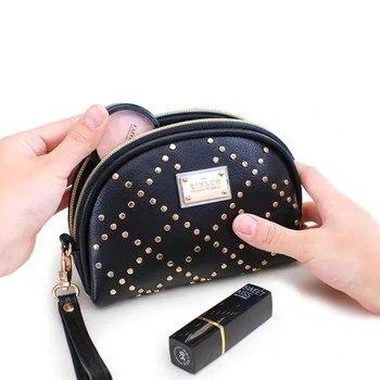 New Mini Cosmetic Bag Fashion Rivet Shell type Handbag Portable Make-up Mysterious Black Color
