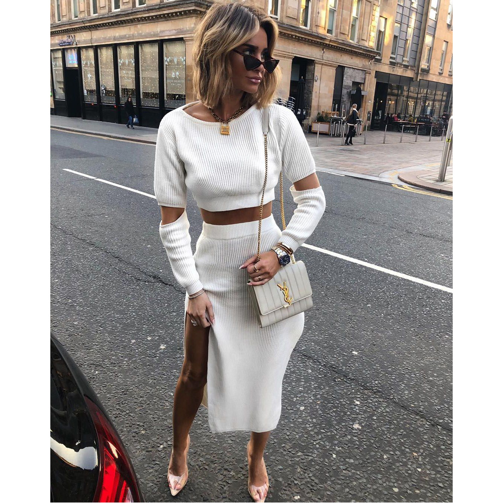 Women <font><b>Ribbed</b></font> Knit Two Piece <font><b>Set</b></font> Long <font><b>Skirt</b></font> T-shirt Top Sexy Elegant Festival Matching Co Ord Clothes Party Spring Summer Outfits image