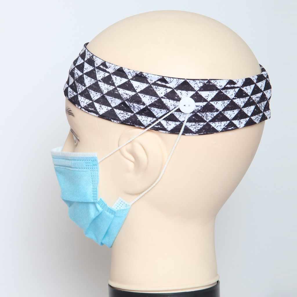 Kustom Masker Rambut Aksesoris Rambut Band Drawsting Pemegang Tombol Padat Ikat Kepala Anti Ketat Elastis Headband Kepala Membungkus Rambut Band Bandana