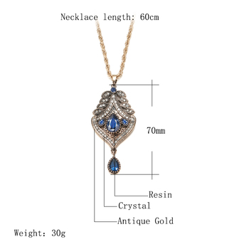 Kinel Morocco Women Antique Gold Pendant Necklace Hollow Metal Lucky Totem Long Chain Ethnic Necklace Wedding Hip Hop Jewelry 2