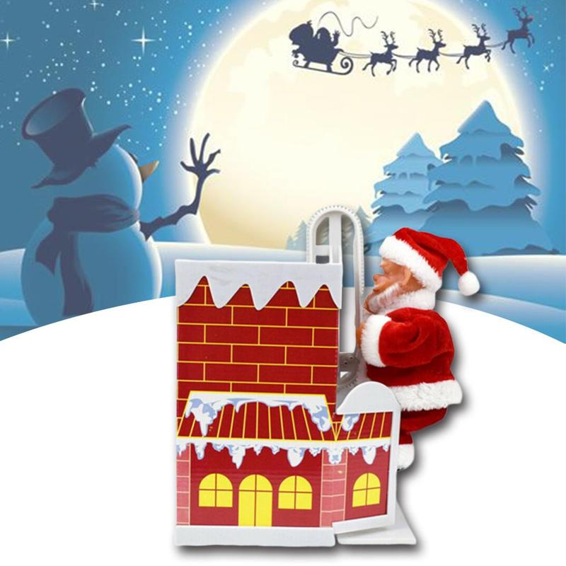 Funny Christmas Gifts Climbing Chimney Santa Claus Electric Toys With Music Christmas Party Decoration Electric Music Toys