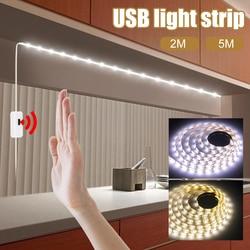 5V USB Kitchen Cabinet Light Tape Hand Sweep Sensor LED Strip Light Flexible Wireless PIR Led Night Lights for Bedroom Closet