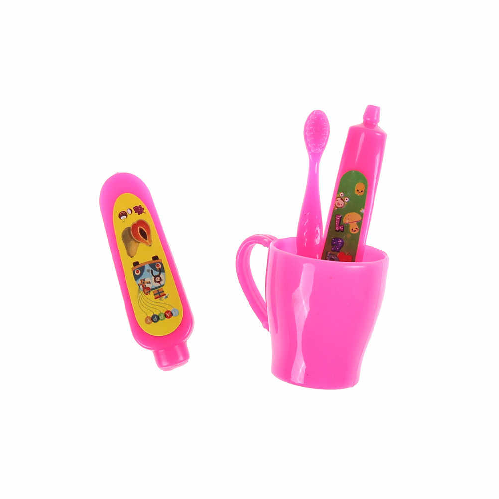 1 Juego de accesorios de muñeca rosa de alta calidad tubo de pasta de dientes cepillo de dientes baño para muñecas Barbie niñas pequeñas juguetes de regalo