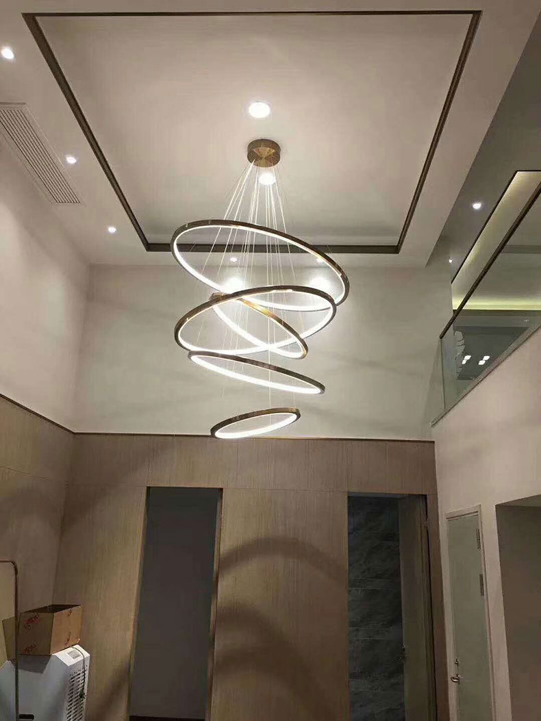 H5e94c79e8f0e4fb3910cefcd2eb68ba5z Modern Home LED Ceiling Light For Living room Dining room Kitchen Lustre 6Ring 5Rings Hanging Lamp Ceiling Lamp Lighting Fixture