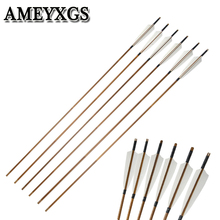6/12pcs  Bamboo Arrow 5inch Turkey Feather Archery OD:8mm Compound Bow Recurve Outdoor Hunting Shooting Accessories