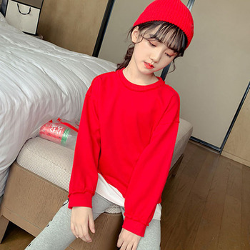 Fashion 2019 Patchwork Sweatshirts For Big Baby Girls Autumn Long Sleeve Cotton Tops Hoodies Kids Outerwear Clothing 6 8 10 12 Y